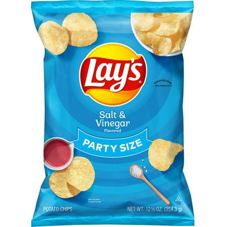 Lay's Salt & Vinegar Flavored Potato Chips, Party Size, 12.5 oz Bag