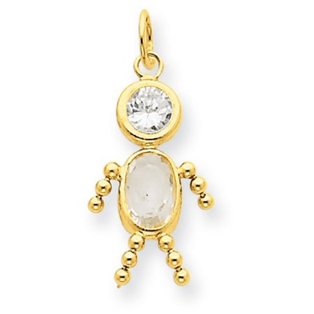 14k Yellow Gold April Boy Birthstone Charm
