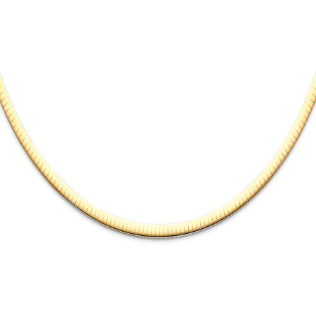 14K Yellow Gold 4mm Sparkle Omegas Necklace - 18'' 14k 4mm Lightweight Omega Necklace