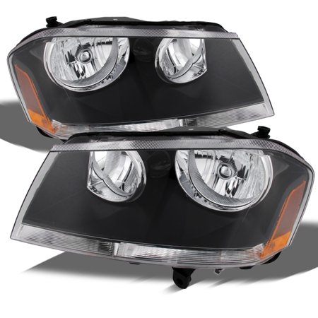 2000 Dodge Avenger Replacement - Fits 08-14 Dodge Avenger Black Replacement Headlights Headlamps Left + Right