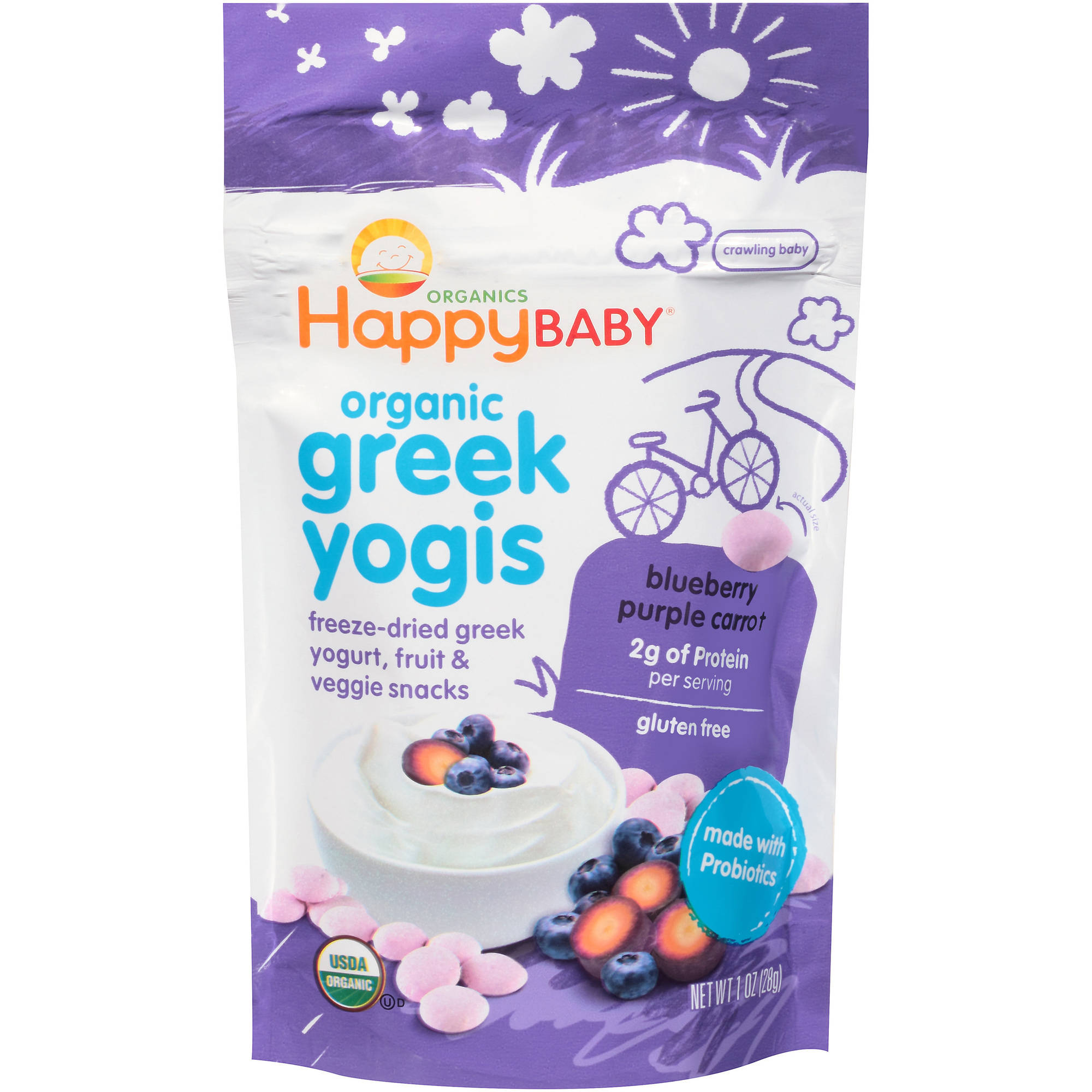 Happy Baby Greek Yogis, Organic Baby Food, Blueberry & Purple Carrot - 1oz bag, 1.0 OZ