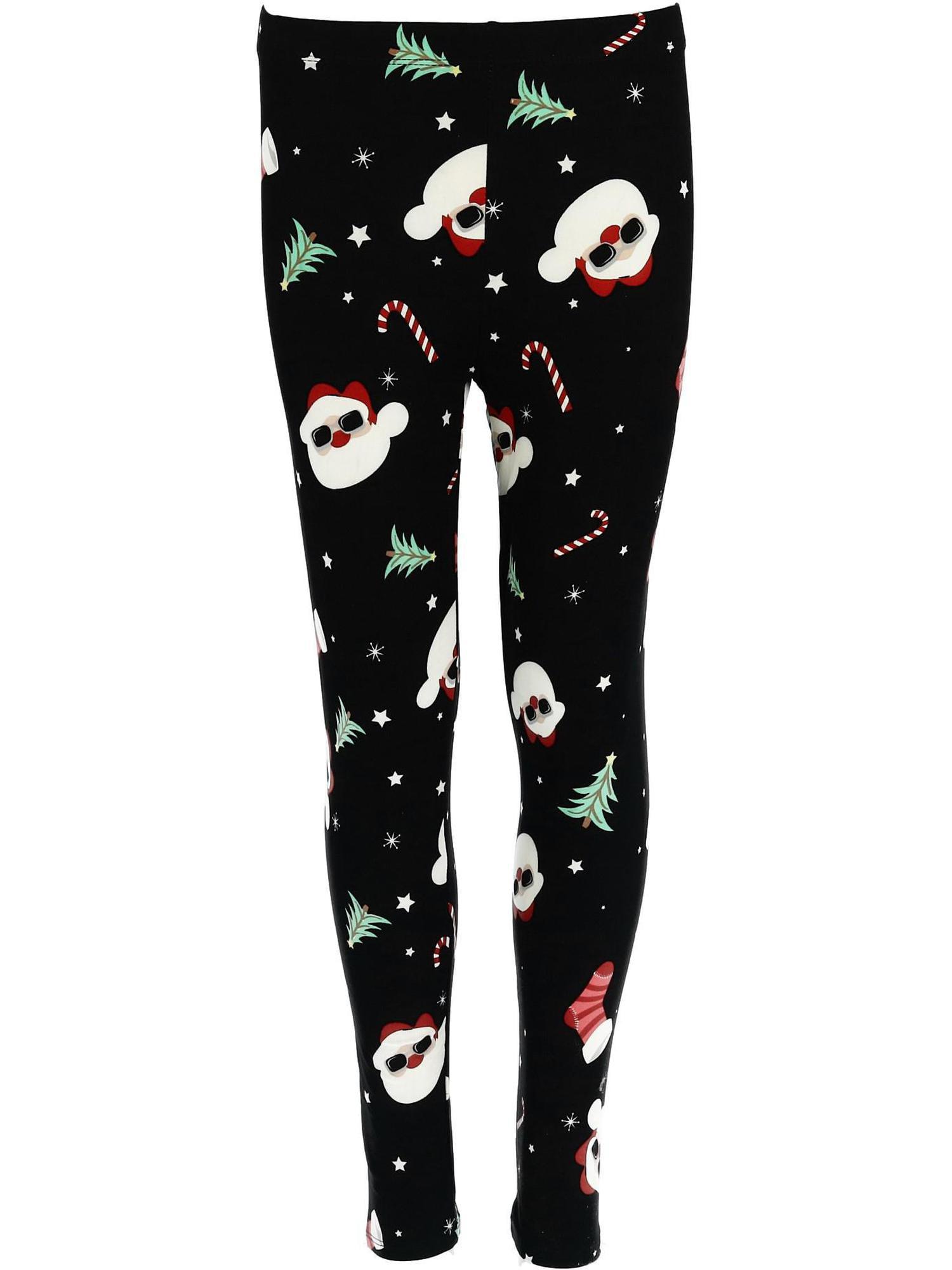 5e568f4a2e440 Just One - Girl's Santa Claus Print Christmas Holiday Leggings, Black -  Walmart.com