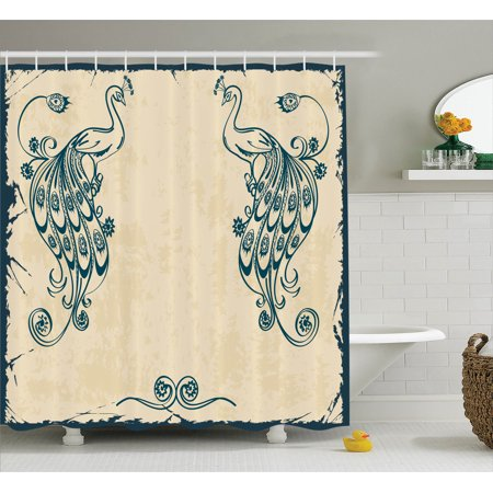 Peacock Decor Shower Curtain Set, Vintage Style Artwork With Peacocks Ornamental Lines Classic Artful Home Deco, Bathroom Accessories, 69W X 70L Inches, By Ambesonne](Peacock Accessories)