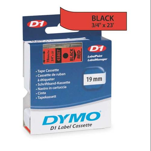 DYMO 45807 Red Tape, Black/Red, 23 ft. L, 3/4 In. W