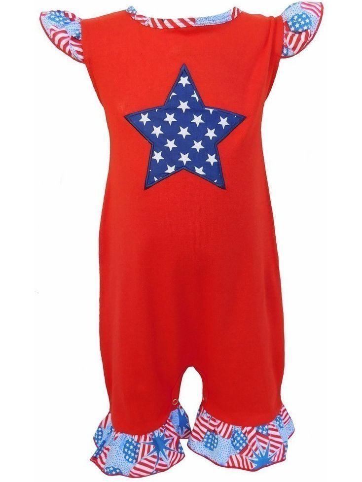 AnnLoren Baby Girls Red Blue Star American Flag One Piece Romper