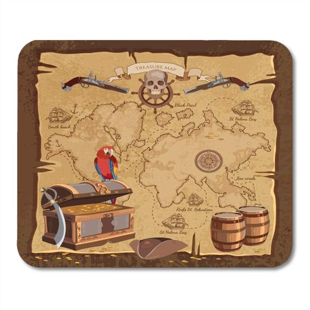 SIDONKU Game Old Pirate Treasure Map Chest Parrot Skull Rum Saber Hat and Ship Adventure Stories Sea Mousepad Mouse Pad Mouse Mat 9x10 inch](Pirate Treasure Map Game)