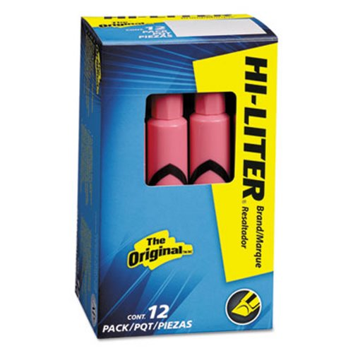 Hi-liter Desk Style Highlighter, Chisel Tip, Light Pink Ink, 12/Pk (AVE07749)