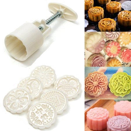 Creative Moon Cake Mold Mould Flower 6 Stamps 50g Tool DIY Decoration SPECIAL TODAY !