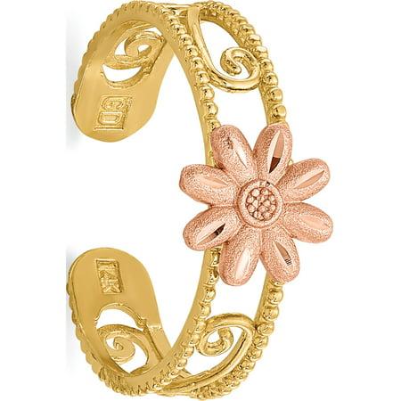 14k Yellow Gold  Flower Toe Ring 14k Designer Toe Ring
