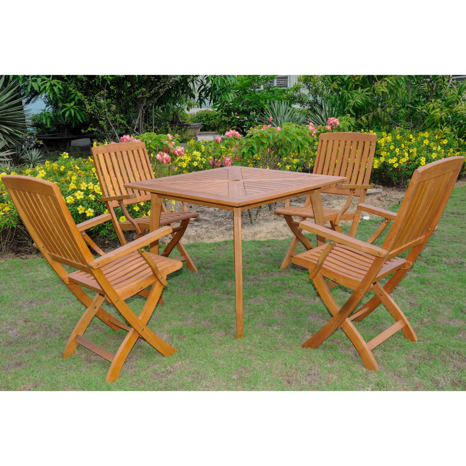 International Caravan Royal Tahiti Samara Balau Wood 5 Piece Patio Dining Set