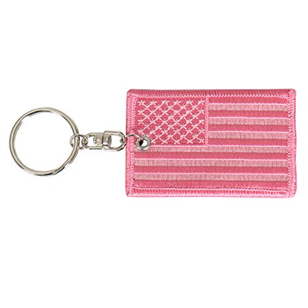 """PINK AMERICAN FLAG, Premium High Thread Rayon Quality, Double Sided Embroidered Patch KEYCHAIN - 3"""" x 2"""""""