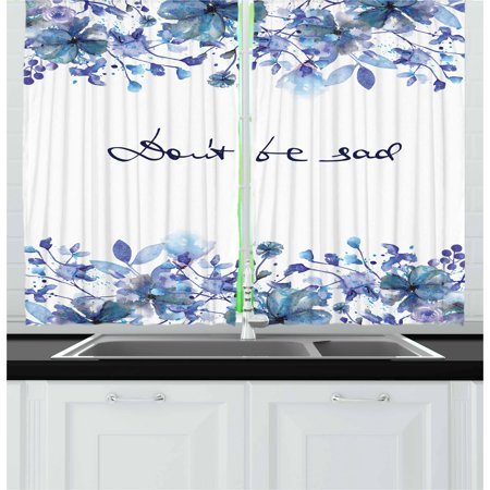 Watercolor Curtains 2 Panels Set, Blue Flowers and Branches with Leaves Natural Imagery Fine Art Theme, Window Drapes for Living Room Bedroom, 55W X 39L Inches, Royal Blue Pale Blue, by Ambesonne ()