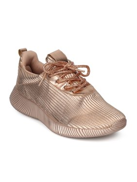 daf25b9eaf05e Product Image New Women Qupid Spyrock-07 Metallic Ridged Light Weight Lace  Up Jogger Sneaker. Product Variants Selector. Gold Metallic Silver Metallic  Rose ...