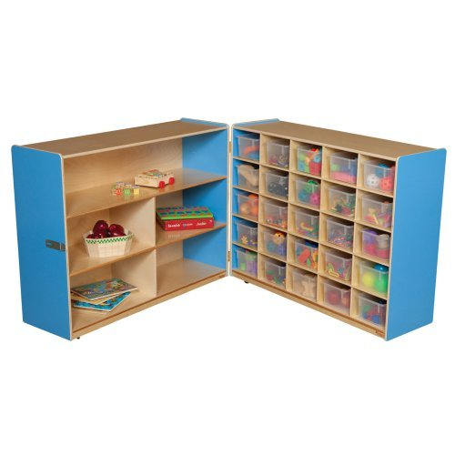 Wood Designs Tray and Shelf Fold Storage with 25 Clear Trays