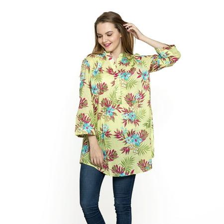 Lime Green Flower Pattern 100% Cotton Tunic for Women Large](Greek Tunic)