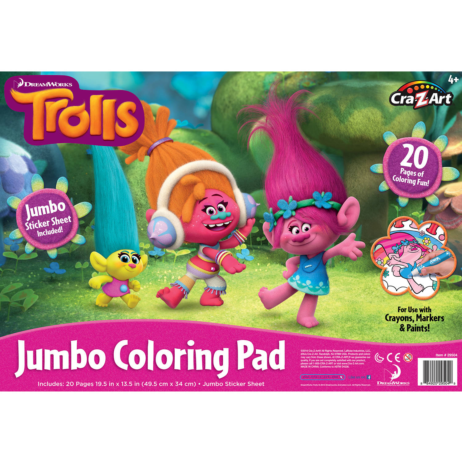 Cra-Z-Art Trolls Jumbo Coloring Pad by CRA-Z-ART