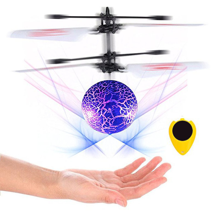 Flying Ball,Children Flying Toys,Mini RC infrared Helicopter Ball Built-in Shinning LED Lighting for Kids,blue.