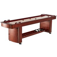 Barrington 9' Classic Wood Shuffleboard Table, Built In Storage, Wine Rack, Brown