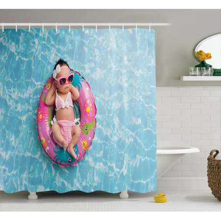 Baby Shower Curtain, Nine Days old Girl Sleeping on Tiny Inflatable Ring Crocheted Bikini Sunglasses, Fabric Bathroom Set with Hooks, 69W X 70L Inches, Tan Multicolor, by Ambesonne - Tiny Bikinies