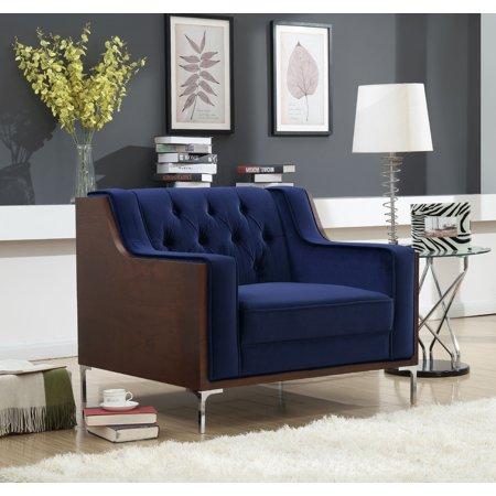 Chic Home Parker Club Accent Chair Button Tufted Velvet Walnut Finish Swoop Arm Wood Frame with Polished Metal Legs, Modern Contemporary, Navy Antique Metal Finish Arm Chairs