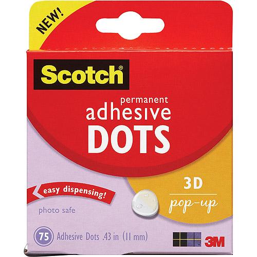 3M Scotch Permanent Adhesive Dots, 3D Pop-Up, 75/pkg