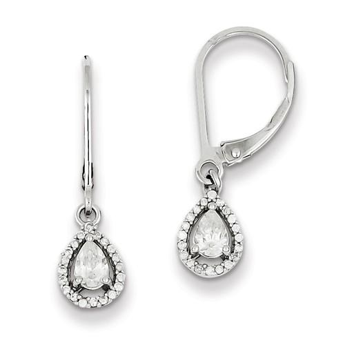 Sterling Silver 0.3IN Long Diamond Earrings