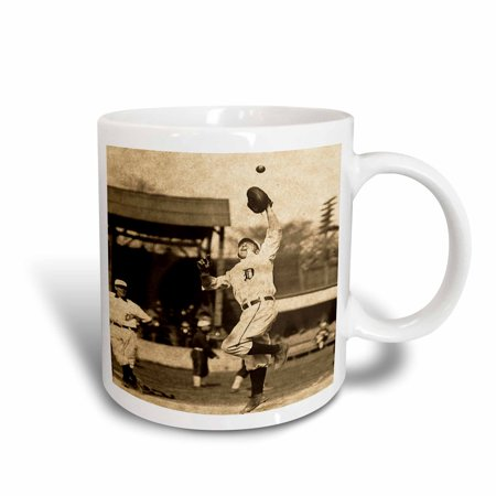 3dRose Vintage Detroit Tigers Making the Catch Black and Sepia 2, Ceramic Mug, 11-ounce