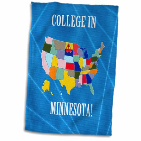 3dRose United States Map, College in Minnesota, Heart and Car with Luggage - Towel, 15 by 22-inch