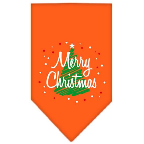 Scribble Merry Christmas Screen Print Bandana Orange Large
