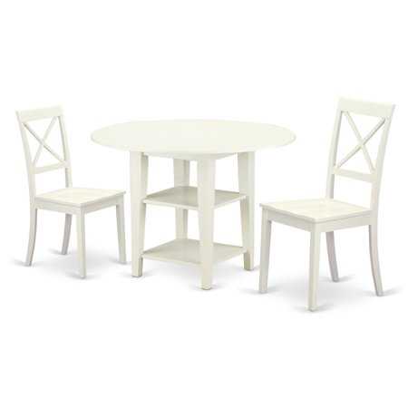 East West Furniture Sudbury 3 Piece Dual Drop Leaf Dining Table Set