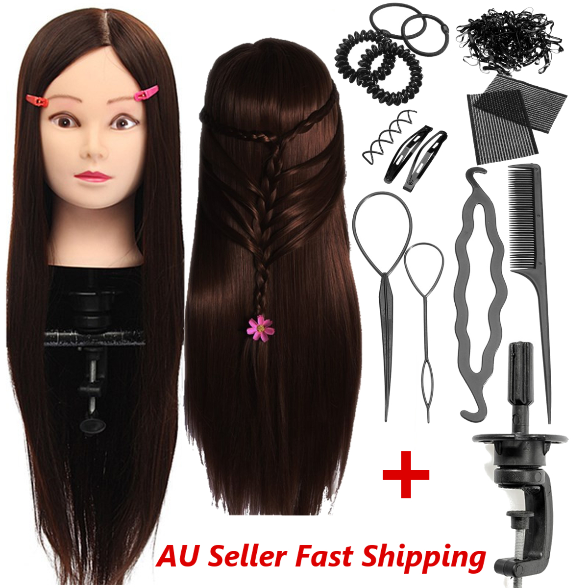 "Salon Hairdressing Training Mannequin Head   26"" 30% Real Hair+Clamp+Braid Set"