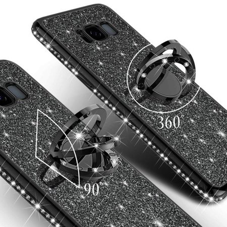 Galaxy S8 Plus Case, Cute Glitter Ring Stand Phone Case with Kickstand, Bling Diamond Bumper Ring Stand Sparkly Luxury Clear Thin Soft Protective Samsung Galaxy S8 Plus Cover for Girls Women - Black - image 1 of 6