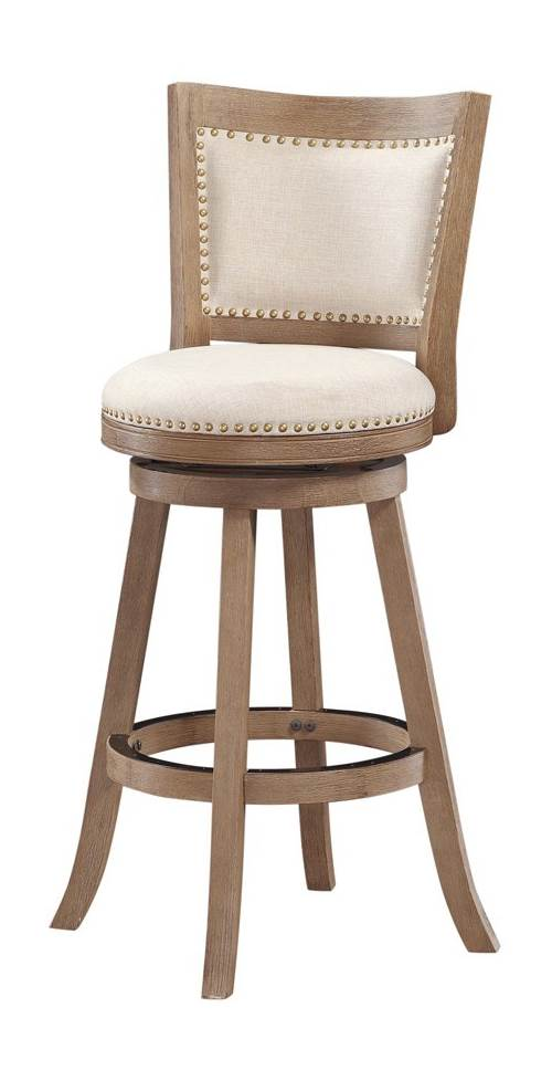 29 in. Wire Brush Swivel Bar Stool in Medium Brown by Boraam
