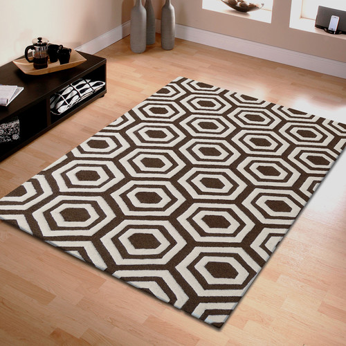 Corrigan Studio Algarve Hand-Tufted Brown/Ivory Area Rug