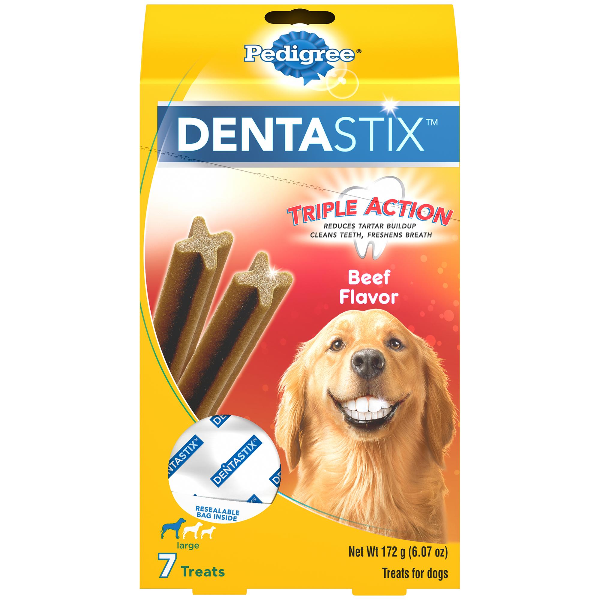 Pedigree Dentastix Large Dental Dog Treats Beef Flavor, 6.07 oz. (7 Treats)