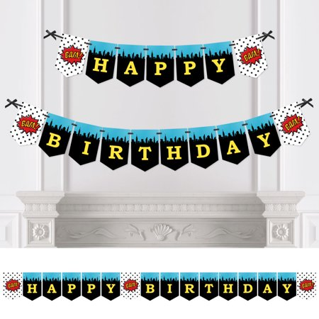 BAM! Superhero - Birthday Party Bunting Banner - Comic Book Party Decorations - Happy Birthday - Comic Book Banner