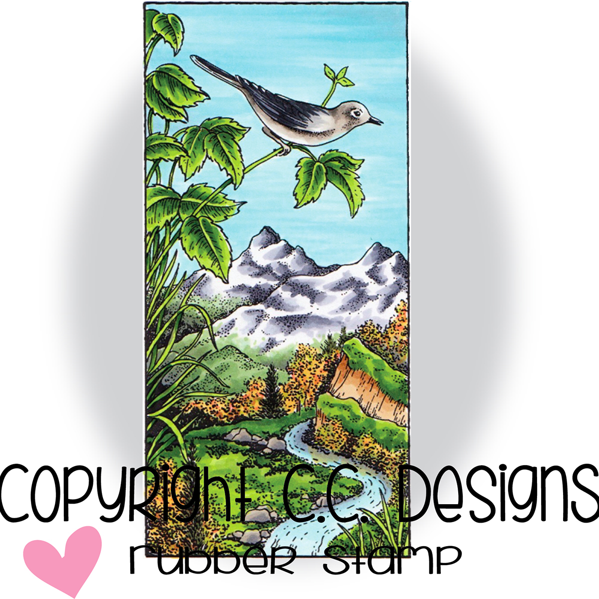 """C.C. Designs JD1086 Doveart Cling Stamp 2""""X4.25"""" - Mountain Song"""
