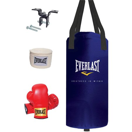 25lb Heavy Bag Kit, Black Nevatear heavy bag stuffed with a custom filling of natural and synthetic fibers blended with sifted sand for a.., By Everlast
