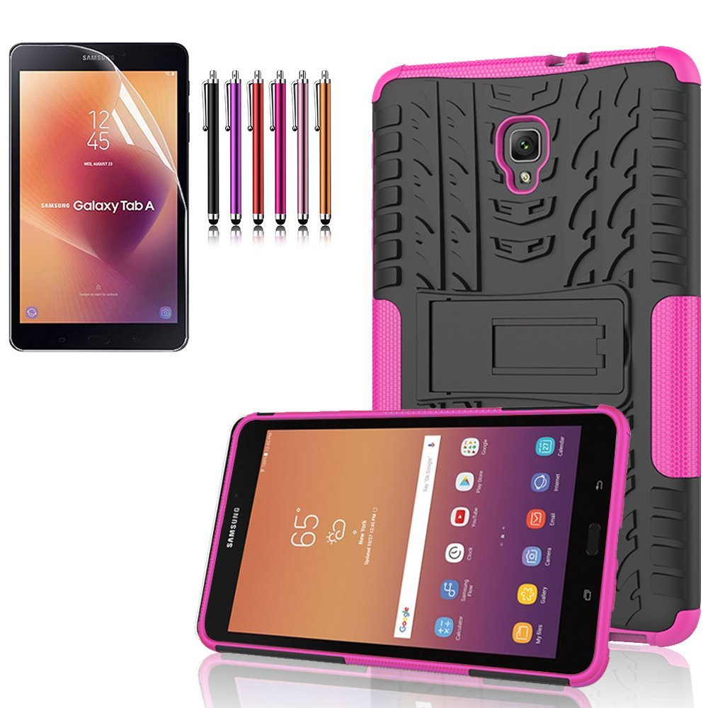 """Mignova Samsung Galaxy Tab A 8.0 """"/ 8"""" (Sm-t380 / t385) Heavy Armored Rugged Mixed Case Case ( 2017 Release) + Screen Protector Film and Stylus Pen (Black)"""