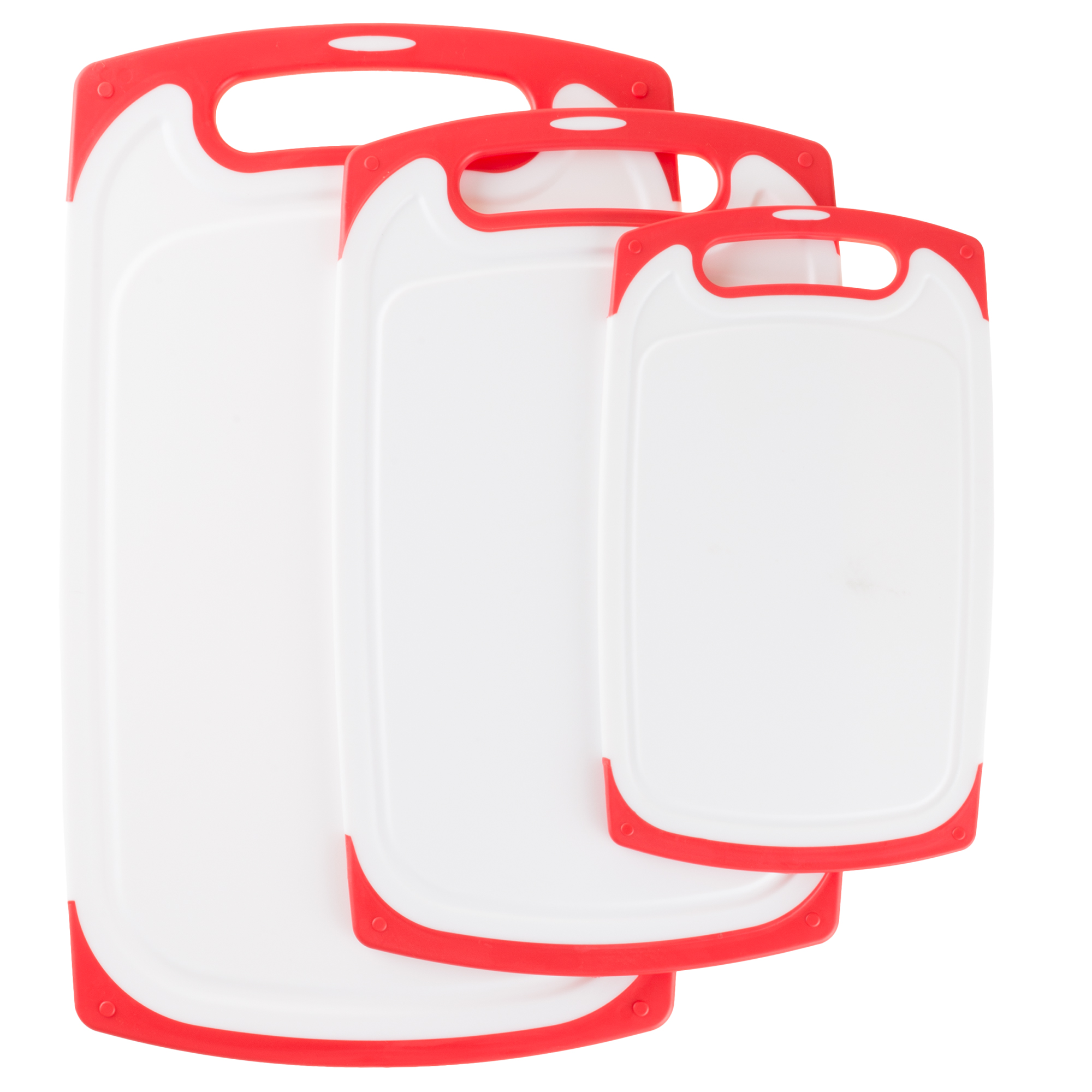 Cutting Board Set- 3 Piece Plastic Kitchen Chopping Boards for Cooking Food Prep with Juice Groove, Dishwasher Safe by Classic Cuisine (Red)