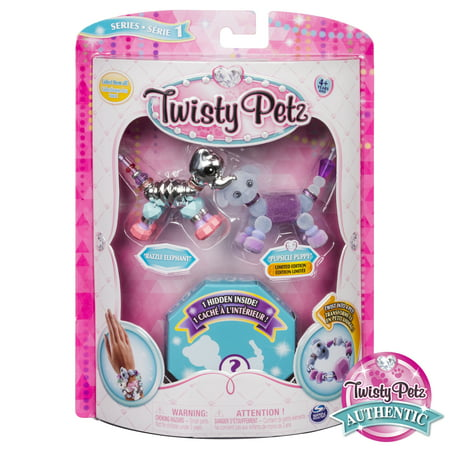 Twisty Petz - 3-Pack - Razzle Elephant, Pupsicle Puppy and Surprise Collectible Bracelet Set for Kids