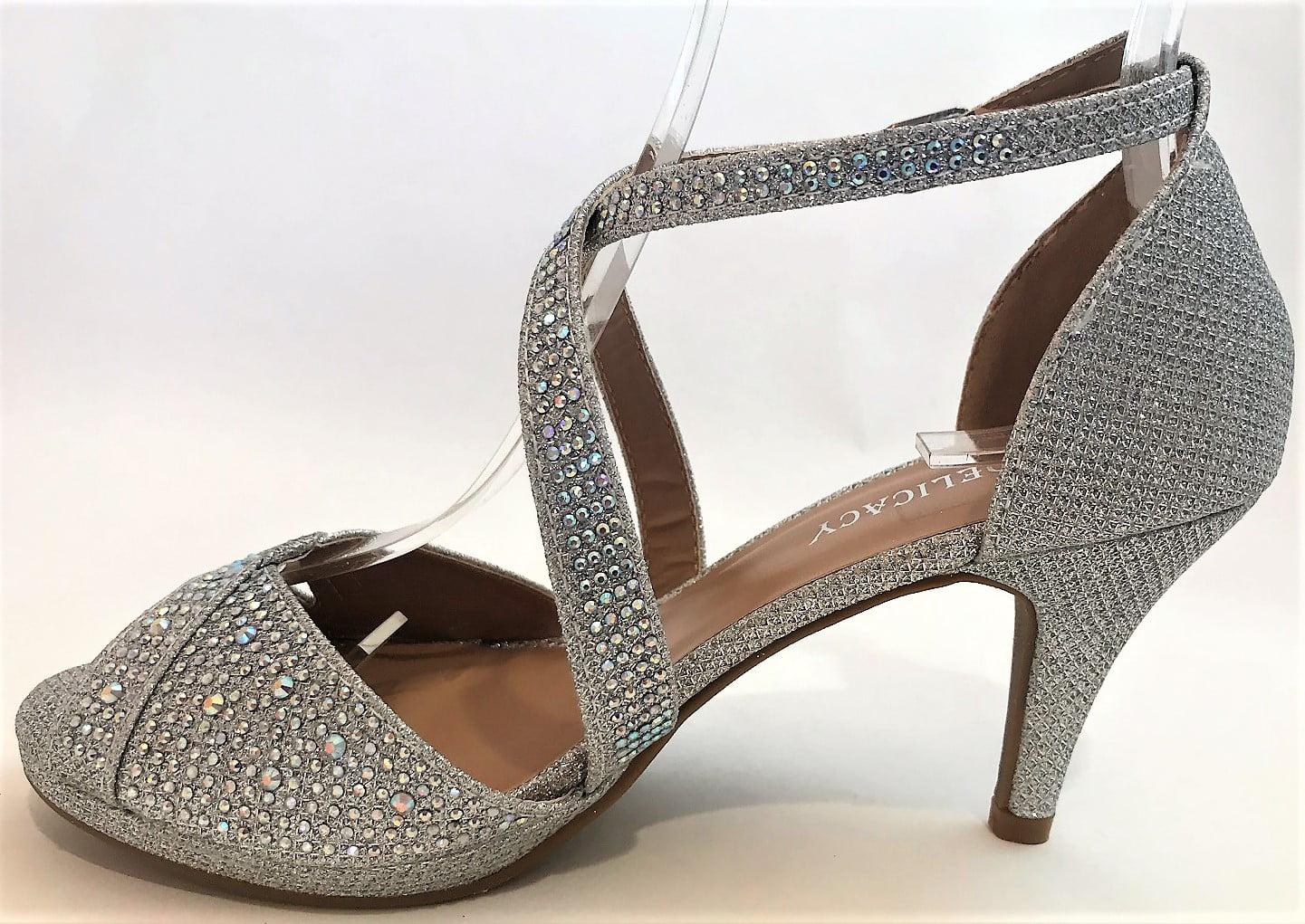 d007ef0cd0c Excited-90 Women Party Evening Dress Bridal Wedding Rhinestone Platform  Kitten Low Heel Sandal Shoes Silver