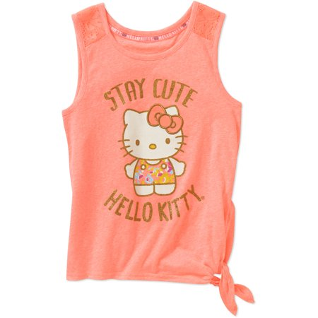 Hello Kitty Girls Stay Cute Tie Front Tank With Lace Insets