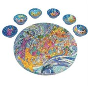 The Exodus from Egypt Wooden Passover Seder Plate by Yair Emanuel