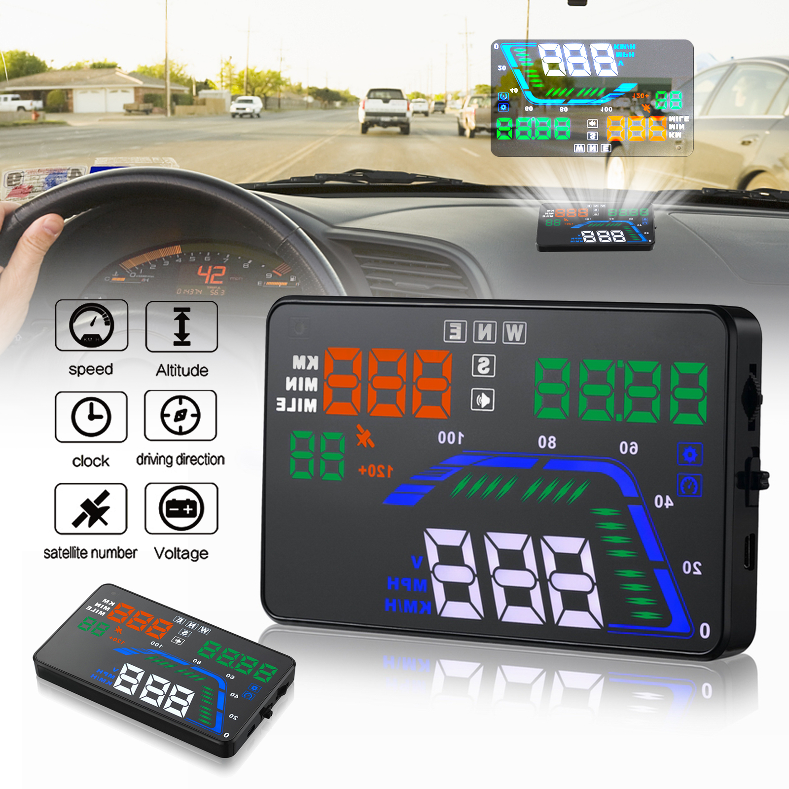 "EEEkit 5.5""Car Digital GPS Speedometer Head Up Display Shows GPS Navigation Compass,Time, Altitude for All Cars(Black)"