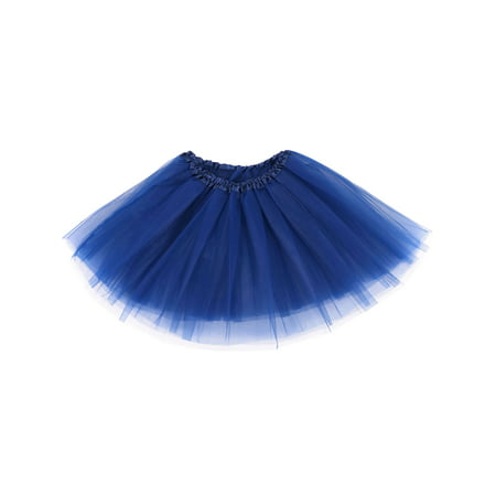 women's 3-layered Ballet Tutu Skirt, Tulle Fibers &Classic Elastic ,Navy