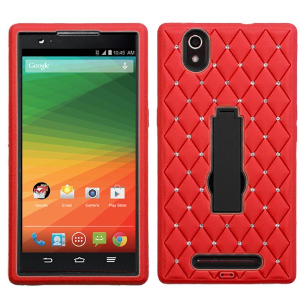 Insten Symbiosis Skin Dual Layer Rubber Hard Cover Case w/stand/Diamond For ZTE ZMax - Red/Black - image 3 de 3