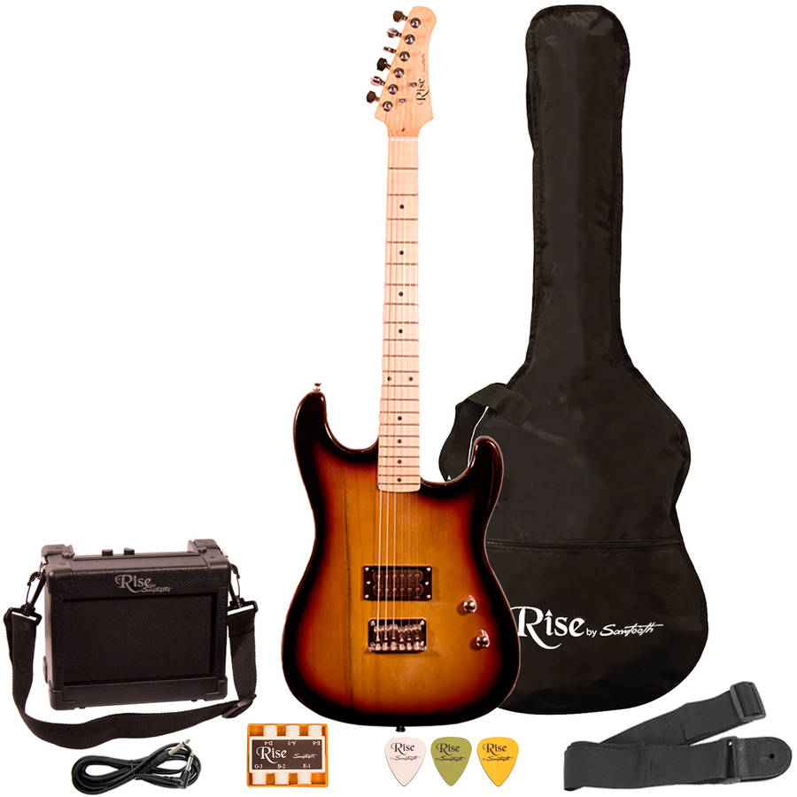 Rise by Sawtooth Left-Handed Full Size Electric Guitar with Accessories, Beginner's Electric Guitar, Sunburst