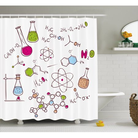Educational Shower Curtain Doodle Style Hand Drawn Chemistry Composition With Atom Molecules Flask Fabric Bathroom Set Hooks Green Blue Pink