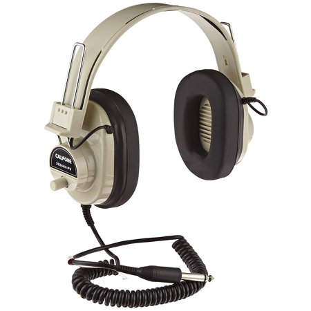 Mono Headphone Replaceable Coiled Cord - 2924AVPV Deluxe Mono Headphones with Volume Control and Permanent Coiled Cord, EACH By Califone